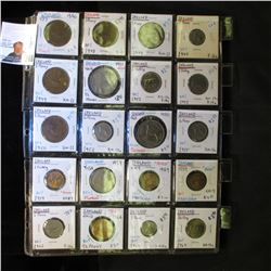 20-Pocket Plastic Page with (20) Ireland Coins including Farthing, 1/2 Penny, One Penny, 3 Pence, 6