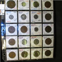 20-Pocket Plastic Page with (20) Ireland Coins including 1/2 Penny, One Penny, 3 Pence, & 6 Pence. S