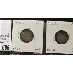 1880H & 81H Canada Five Cent Silver, both grading Good.