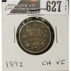 1892 Canada Silver Quarter, Choice VF, original toning.