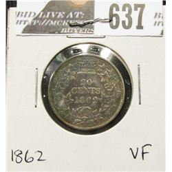 1862 New Brunswick Silver Twenty-Cent Piece, VF.