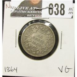 1864 New Brunswick Silver Twenty-Cent Piece, VG.