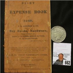 """Diary and Expense Book for 1869 J.G. Gordon & Co. Dealers in Dry Goods, Hardware, Farming Tools, &"