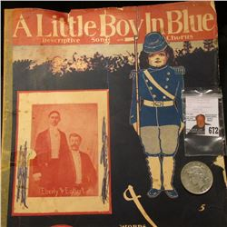 "Copyright 1903 Sheet Music ""A Little Boy in Blue"" depicting a boy soldier in the Civil War; & 1922 D"