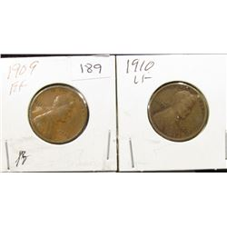1909 VF & 1910 F Lincoln Cents
