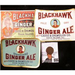 "1878 U.S. Indian Head Cent & Three-different ""Blackhawk Ginger Ale"" Bottle Labels"