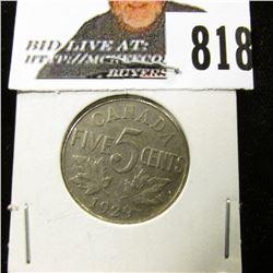 1929 Canada Nickel, EF.