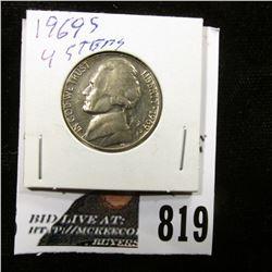1969 S Jefferson Nickel, Gem BU with four full steps.