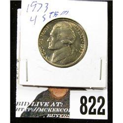 1973 P Jefferson Nickel, Gem BU with four full steps.