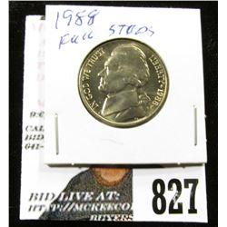 1988 P Jefferson Nickel, Gem BU with full steps.