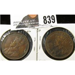 1912 & 1913 VF Canada Large Cents.