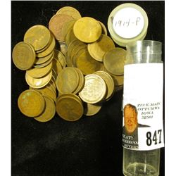 (51) 1914 P U.S. Lincoln Wheat Cents in a plastic tube. Average circulated.