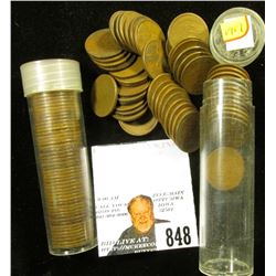 (2) Solid Date but possibly mixed mint mark Rolls of 1919 U.S. Lincoln Wheat Cents in plastic tubes.