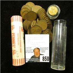 1939 S Solid Date Cent Roll, circulated; & 1969 D Original BU Bank wrapped Rolls of Cents.