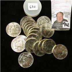 1963 D Original BU Roll of Franklin Half Dollars, (20 pcs.)