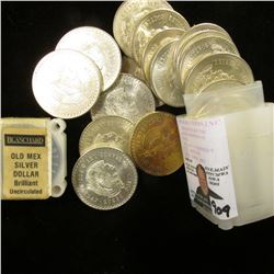 """1947-48 Roll of Mexico .900 fine Silver Five Peso Coins originally sold by """"Blanchard"""" Coin Company"""