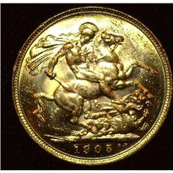 1905 Melbourne, Australia Gold Sovereign, Brilliant Uncirculated. .917 fine Gold, .2355 ozs.