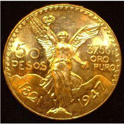 1821-1947 Mexico Fifty Pesos .900 fine Gold, 1.2056 oz. Gem BU.