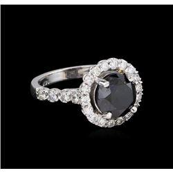 3.76 ctw Black Diamond Ring - 14KT White Gold