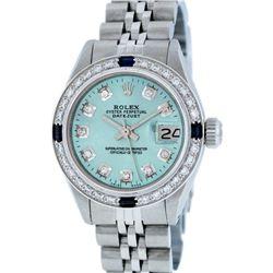 Rolex Stainless Steel Diamond and Sapphire DateJust Ladies Watch