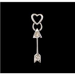 0.10 ctw Diamond Heart and Arrow Pendant - 14KT White Gold