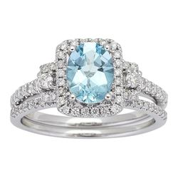 1.00 ctw Aquamarine and Diamond Ring - 14KT White Gold