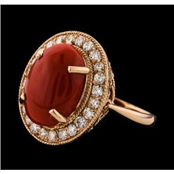 6.04 ctw Coral and Diamond Ring - 14KT Rose Gold