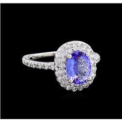 1.78 ctw Tanzanite and Diamond Ring - 14KT White Gold