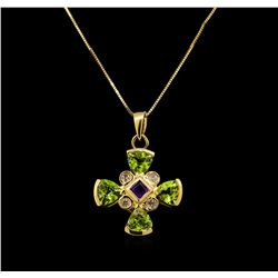 1.76 ctw Peridot, Amethyst and Diamond Pendant With Chain - 14KT Yellow Gold