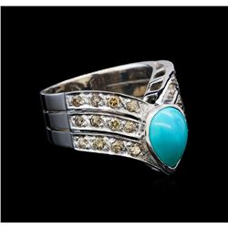 2.00 ctw Turquoise and Diamond V-Shape Ring - 18KT White Gold