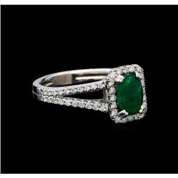 0.93 ctw Emerald and Diamond Ring - 14KT White Gold