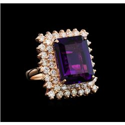 14KT Rose Gold 10.76 ctw Amethyst and Diamond Ring