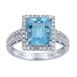 3.18 ctw Aquamarine and Diamond Ring - 14KT White Gold