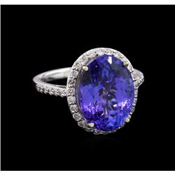 GIA Cert 8.68 ctw Tanzanite and Diamond Ring - 14KT White Gold