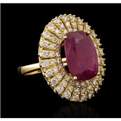 GIA Cert 8.10 ctw Ruby and Diamond Ring - 14KT Yellow Gold