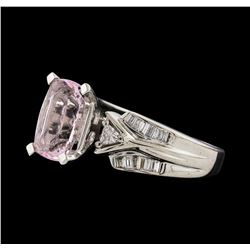 1.95 ctw Morganite and Diamond Ring - 14KT White Gold