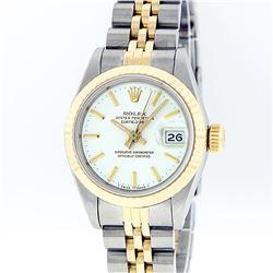 Rolex Two-Tone White Index Fluted Bezel DateJust Ladies Watch