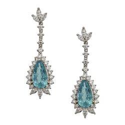 4.96 ctw Paraiba Tourmaline and Diamond Earrings - 18KT White Gold