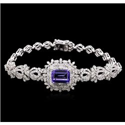4.31 ctw Tanzanite and Diamond Bracelet - 14KT White Gold