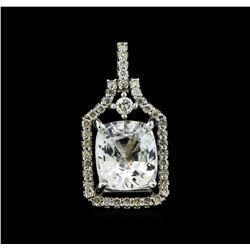 3.78 ctw White Sapphire and Diamond Pendant - 14KT White Gold
