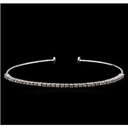 0.70 ctw Diamond Bangle Bracelet - 14KT White Gold