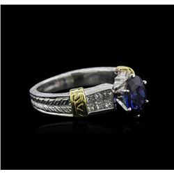 Platinum 1.84 ctw Sapphire and Diamond Ring
