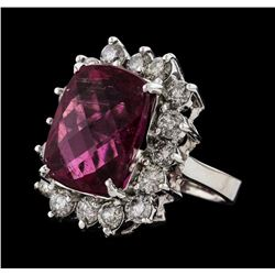 11.12 ctw Tourmaline and Diamond Ring - 14KT White Gold