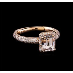 1.35 ctw Morganite and Diamond Ring - 14KT Rose Gold