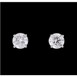 1.21 ctw Diamond Earrings - 14KT White Gold