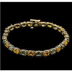 14.97 ctw Multi Color Sapphire Bracelet - 14KT Yellow Gold