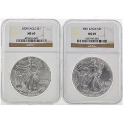 2000-2005 NGC MS69 Silver Eagle Set