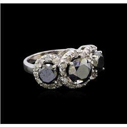 5.54 ctw Black Diamond Ring - 14KT White Gold