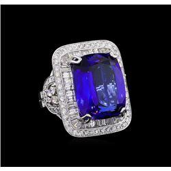 18KT White Gold GIA Certified 21.75 ctw Tanzanite and Diamond Ring