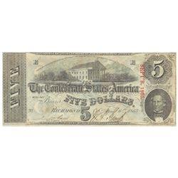 1863 $5 The Confederate States of America Note T-60 CC